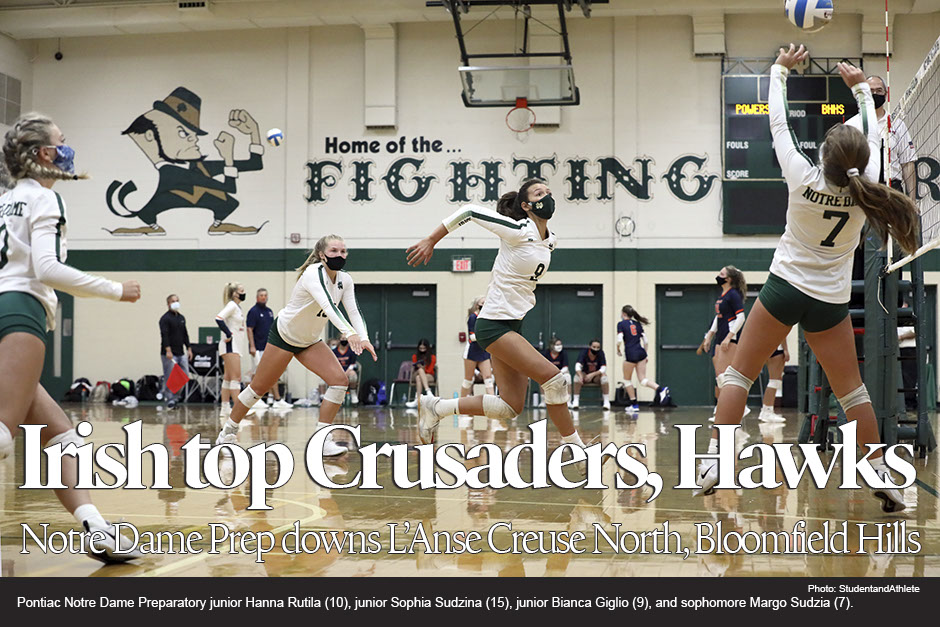 Volleyball: Pontiac Notre Dame Preparatory downs Macomb L'Anse Creuse North, Bloomfield Hills on Monday, Sept. 14, 2020